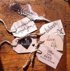 Cadeaulabels/ hangtags voor mini workshops handlettering. www.studiosuikerzoet.com