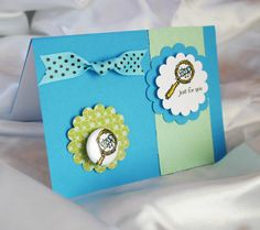 Just For You Bug 1 Pinback Button Card w/ Envelope  by PocketBears, stampin up greeting card