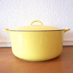 Descoware Yellow Dutch Oven Large Soup Pot  by nellsvintagehouse, $49.00