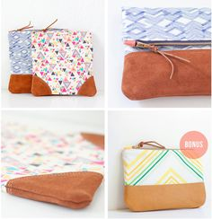 PDF Sewing Pattern - Leather Accent Fold Over Pouch. $8.00, via Etsy.