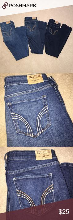 Hollister Skinny Jean Bundle Light, medium and dark wash skinny jeans - all size 7R Hollister Jeans Skinny
