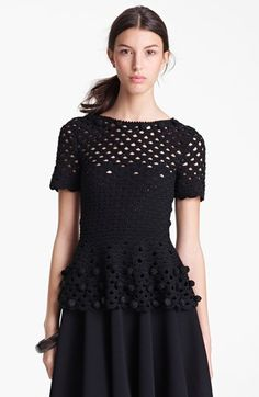 Oscar de la Renta Hand Crochet Peplum Top available at #Nordstrom