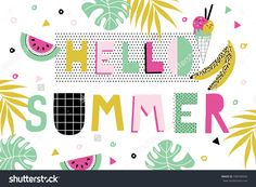 Hello Summer Poster with watermelon. Vector illustration