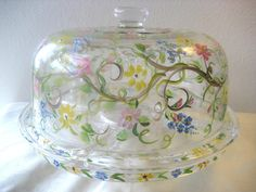 Hand painted cake plate /chip and dip /punch bowl by TivoliGardens & Hand Painted Cake Plate/Punch Bowl with Strawberries | Punch bowls ...