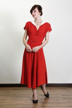 1940s Dress . ANNIE Style . Red with White Collar by VeraVague, $135.00