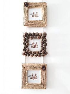 Picture frames with natural materials tinker in autumn Diy Crafts For Home Decor, Diy Crafts Hacks, Diy Crafts For Gifts, Diy Arts And Crafts, Rope Crafts, Craft Stick Crafts, Diy Wall Art, Diy Wall Decor, Photo Frame Crafts