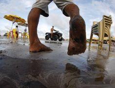 Órgãos de meio ambiente investigam mancha de óleo em praia do Pará #oleo #meioambiente #praia #contaminacao #Para