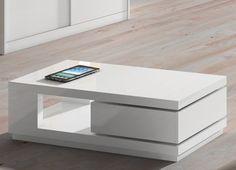 Mesa de centro moderna, lacado blanco