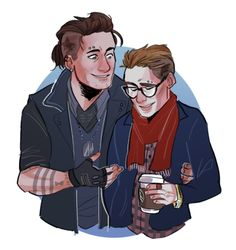 punk bucky and his tiny hipster boyfriend _(:3 」∠)_ steve cap au