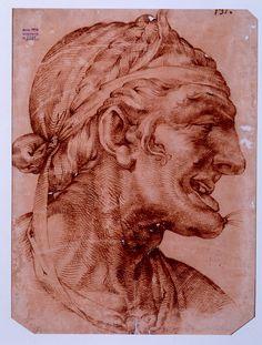 Bartolomeo Passerotti Bologna, 1529 - 1592   Testa di vecchia di profilo Penna e inchiostro bruno su carta bianca , mm 474 x 357