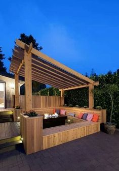 The Cedar Pergola from Leisure Time Products is a beautiful addition to your backyard or patio. This pergola will give your patio wonderful, shaded, natural bea Diy Pergola, Pergola Canopy, Wooden Pergola, Outdoor Pergola, Wooden Decks, Backyard Patio, Pergola Ideas, Patio Ideas, Outdoor Seating