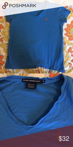 Ralph Lauren Sport shirt Blue Ralph Lauren Shirt with polo logo. Great condition. Size M Ralph Lauren Tops Tees - Short Sleeve
