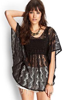 Crocheted Lace Kimono Top | FOREVER21 #SummerForever