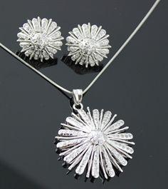 American Diamond Flower Pendant Set