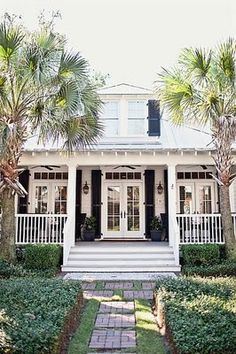 cottage bungalow with french doors Style At Home, Cozy Cottage, Coastal Cottage, Coastal Homes, Southern Cottage, Coastal Living, Coastal Decor, Beach Cottage Exterior, Cottage Patio
