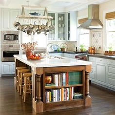 "Simple Ways to Store Your Cookbooks, compiled by Traci from ""beneathmyheart blog. Beautiful kitchens."