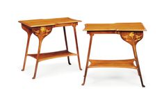 A PAIR OF MAHOGANY AND INLAID TWO-TIER SIDE TABLES -  CIRCA 1900