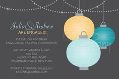 HANGING PAPER LANTERNS Engagment Party/Bridal Shower Invitation - You Print. $15.00, via Etsy.