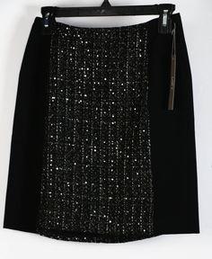 NWT Ann Taylor LOFT Black Sequin Embellished Tweed Panel Mini Skirt 0P #AnnTaylorLOFT #SkirtsSkortsDresses #Casual