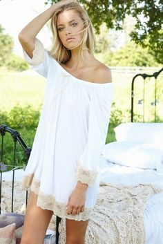 £69 Eberjey Bardot White Chemise. This feminine nightdress with contrasting cream lace, is a must for the summer.