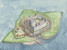Loch Leven Castle reconstruction by Andrew Spratt Chateau Medieval, Medieval Town, Medieval Castle, Fantasy Castle, Fantasy Map, Medieval Fantasy, Scotland Castles, Scottish Castles, Castle Illustration