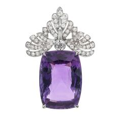 Amethyst Diamond Platinum Pendant | From a unique collection of vintage brooches at https://www.1stdibs.com/jewelry/brooches/brooches/