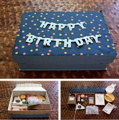 Birthday party in a box! this is a cute gift to send when you can't be there! To any age!