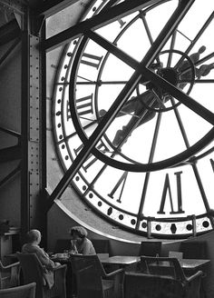 Cafe Noisette at Musée d'Orsay in Paris Clock, BW photo