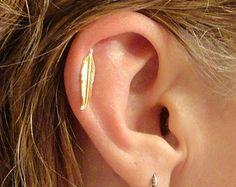 Or plume Cartliage boucle d'oreille Tragus Piercing Helix