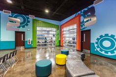 I like the blues and the giant gears. Kids Church Stage, Kids Church Rooms, Church Lobby, Church Nursery, Youth Decor, Sunday School Rooms, Building An Addition, Arcade Room, Multipurpose Room