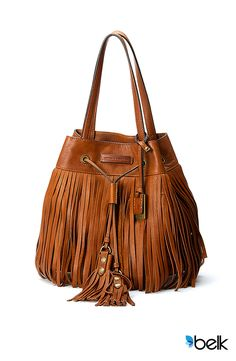 Make a lasting contribution to your collection when you indulge in this trendy boho handbag that's both stunning and versatile. The Frye Heidi Fringe Drawstring Bucket bag is a sophisticated, striking statement that will instantly elevate any look whether you're headed to the office or a music festival. With its soft, hand-burnished Italian leather and antique brass hardware, the comfort of this bag is like an old friend. You deserve something special. Shop this Frye handbag now at Belk.com.
