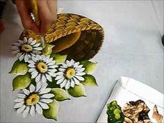 PINTURA EM TECIDO - Margaridas - How to painting a daisy
