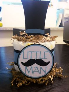 Little Man mustache Mini diaper cake/ centerpiece