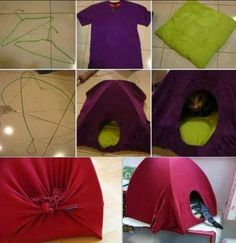 cat tent ...1 t-shirt, 2 hangers (ea bent into semi-circle & taped/wired at top then spread), optional pillow/cushion + cardboard square (4 holes for ends of wire, or tape under c'bd)...slip t-shirt over wire frame so neck in front as entrance; gather/sew excess t-shirt in back or pull excess underneath & duct-tape/staple/etc... maybe insert wire ends into cardboard (under separate pillow bottom) https://www.google.com/images?q=cat+t-shirt+tent…