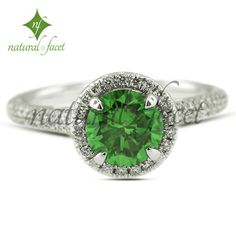 2.16ct Ideal Green-VS1 Round Diamond 18k White Gold Halo Engagement Ring