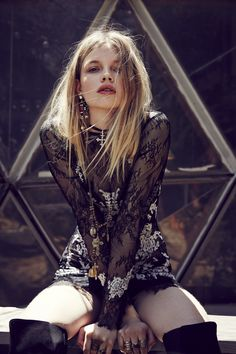 For Love and Lemons Lacey Dreams Mini Dress / Black