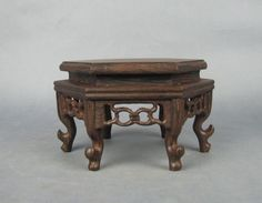 China Ji Chi Wood Rosewood Carved Nice Hexagonal Display Shelf Stand 7"