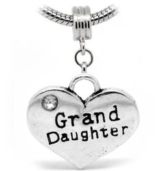 Niece  2 Sides Heart Shaped Dangle With Rhinestones Charm Bead For Snake Chain Charm Bracelet
