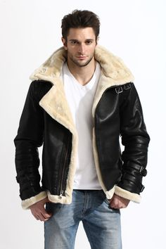 Mens Shearling WW2 Flying Bomber Real Sheepskin Warm Leather