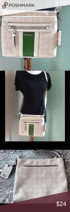 """🌹NWT Dana Buchman Gracie Crossbody Bag🌹 NWT - Dana Buchman Gracie Crossbody Bag - """"Green Logo""""                                                                                              Keep your hands free and your style perfected with this Dana Buchman crossbody bag! 😃 Adjustable strap 9''H x 10''W x 5''D Approx. drop down length: 23'' Adjustable crossbody strap Zipper closure Exterior: 2 zip pockets & slip pocket Interior: 2 slip pockets & zip pocket Faux leather Dana Buchman Bags…"""