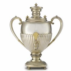 Russian Silver Samovar, St. Petersburg, circa 1890 with gadrooned body, raised arms and fan-shaped tap   with Cyrillic initials S.A. for unidentified maker Height 17 in. 43.2 cm