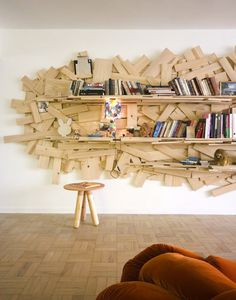 holy wooden bookself.   Sao Paulo apartment of Humberto Campana.