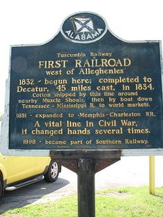 June 12, 1832: Alabama's first railroad, the Tuscumbia Railway, opens, running the two miles from Tuscumbia Landing at the Tennessee River to Tuscumbia. The railway was the first phase of a planned railroad to Decatur, forty-three miles to the east. That railroad was needed in order for river traffic to avoid the dangerous and often unnavigable Muscle Shoals of the Tennessee River.
