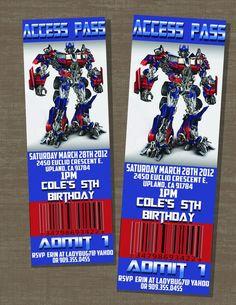 transformer diy party ideas | Transformers Birthday Optimus Prime Ticket Invite by JustInvites, $10 ...