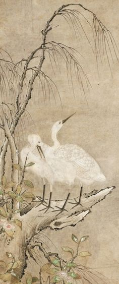 """""""Winter Landscape of Two Herons, Willow, and Tea Plants Blossoms""""  Japan, SogaSchool, circa 1550"""