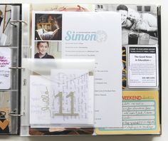 for birthday cards | ali edwards   Like the bday theme of this spread with envelope for cards! Love the idea of the questionnaire too! Maybe do this for the kids, to start their PL!