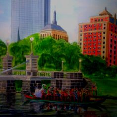 My watercolor of the Swan Boats in Boston!