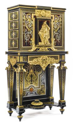 François Linke French, 1855 - 1946 An important and unique pair of Louis XIV style ebony and brass and tortoiseshell-inlaid Boulle marquetry bahut à deux corps Paris, 1913-14, index number 2488, after the model in the musée du Louvre each upper part with one cupboard door opening to reveal four drawers, each side fitted with four drawers, the lower part fitted with one frieze drawer, one of the lockplates has been removed to reveal the Ct. Linke stamp and number 2488, each carcass stamped…