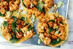 These crispy tostadas are loaded with protein and veggies, and popping with color and spices.Tempeh and fresh cauliflower soak up the smoky, spicy flavor of chipotle peppers in abodo sauce, and the creamy cilantro sauce coolsthings down again.Taco night just got an upgrade!