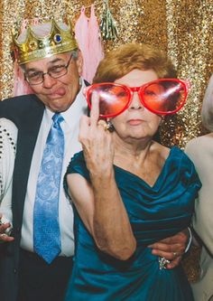 Weiss told BuzzFeed Life that two of the people in the picture — the perfect couple below — are the groom's grandparents. The other folks are longtime friends of the grandparents. | These Awesome Grandparents Just Changed The Wedding Photo Booth Game